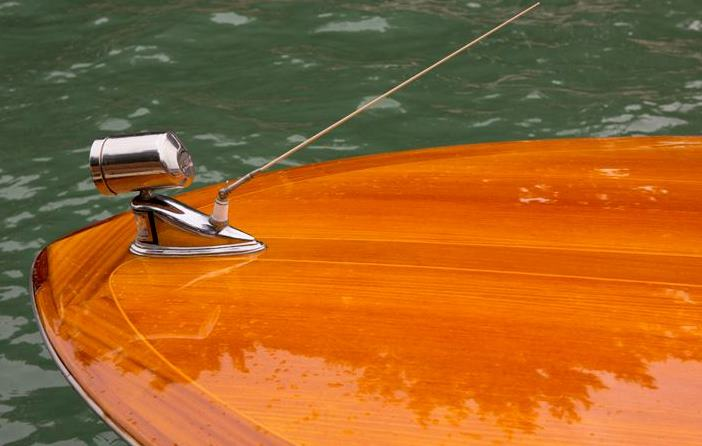 example of brightwork on a beautiful wooden boat
