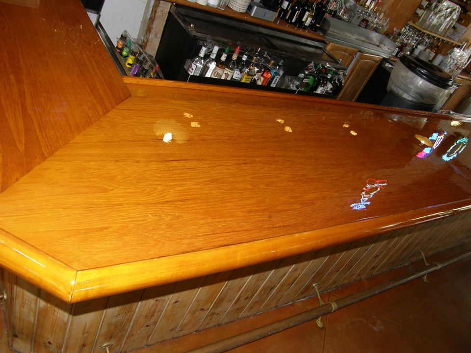 Varnished Bar Top at Sailfish Marina by Custom Marine Paint & Varnish