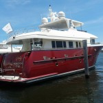 Horizon EP 69 with awlgrip paint and varnished trim by Custom Marine Paint & Varnish